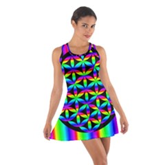 Rainbow Flower Of Life In Black Circle Cotton Racerback Dress