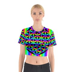 Rainbow Flower Of Life In Black Circle Cotton Crop Top