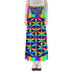 Rainbow Flower Of Life In Black Circle Maxi Skirts