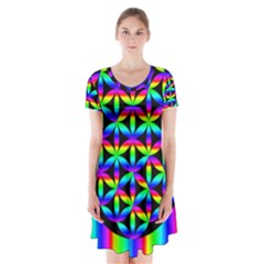 Rainbow Flower Of Life In Black Circle Short Sleeve V-neck Flare Dress