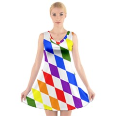 Rainbow Flag Bavaria V Neck Sleeveless Skater Dress