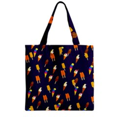 Seamless Ice Cream Pattern Grocery Tote Bag
