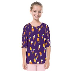 Seamless Ice Cream Pattern Kids  Quarter Sleeve Raglan Tee