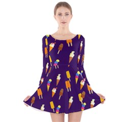 Seamless Ice Cream Pattern Long Sleeve Velvet Skater Dress