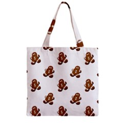 Gingerbread Seamless Pattern Zipper Grocery Tote Bag