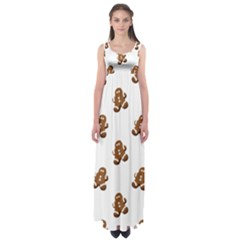 Gingerbread Seamless Pattern Empire Waist Maxi Dress
