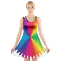 Rainbow Seal Re Imagined V Neck Sleeveless Skater Dress