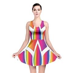 Rainbow Lotus Flower Silhouette Reversible Skater Dress