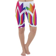 Rainbow Lotus Flower Silhouette Cropped Leggings