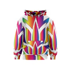 Rainbow Lotus Flower Silhouette Kids  Zipper Hoodie