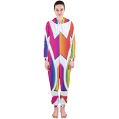Rainbow Lotus Flower Silhouette Hooded Jumpsuit (ladies)