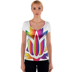 Rainbow Lotus Flower Silhouette Women s V-Neck Cap Sleeve Top