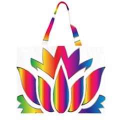 Rainbow Lotus Flower Silhouette Large Tote Bag