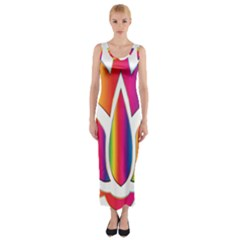Rainbow Lotus Flower Silhouette Fitted Maxi Dress