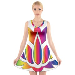 Rainbow Lotus Flower Silhouette V Neck Sleeveless Skater Dress