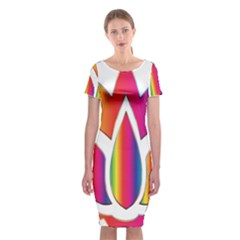 Rainbow Lotus Flower Silhouette Classic Short Sleeve Midi Dress
