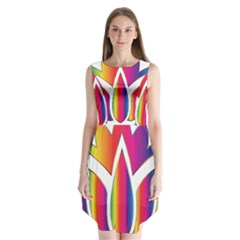 Rainbow Lotus Flower Silhouette Sleeveless Chiffon Dress