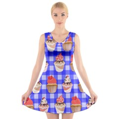 Cake Pattern V Neck Sleeveless Skater Dress