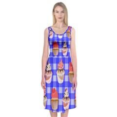 Cake Pattern Midi Sleeveless Dress