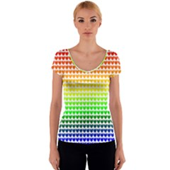 Rainbow Love Women s V-Neck Cap Sleeve Top