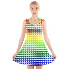Rainbow Love V Neck Sleeveless Skater Dress
