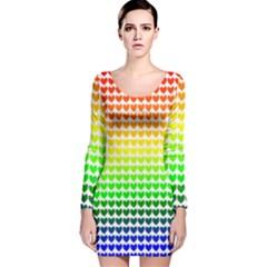 Rainbow Love Long Sleeve Velvet Bodycon Dress