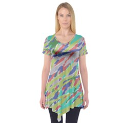 Crayon Texture Short Sleeve Tunic