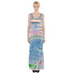 Prismatic Fingerprint Maxi Thigh Split Dress