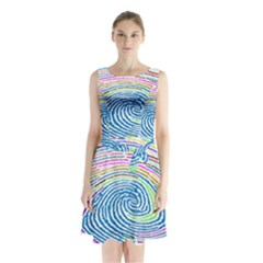 Prismatic Fingerprint Sleeveless Waist Tie Chiffon Dress