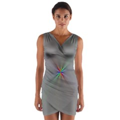 Square Rainbow Wrap Front Bodycon Dress