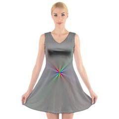 Square Rainbow V Neck Sleeveless Skater Dress