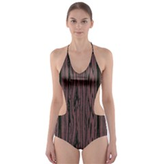 Grain Woody Texture Seamless Pattern Cut Out One Piece Swimsuit
