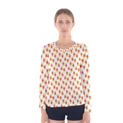 Candy Corn Seamless Pattern Women s Long Sleeve Tee