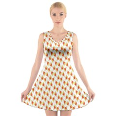 Candy Corn Seamless Pattern V Neck Sleeveless Skater Dress