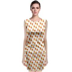 Candy Corn Seamless Pattern Classic Sleeveless Midi Dress