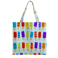 Popsicle Pattern Zipper Grocery Tote Bag
