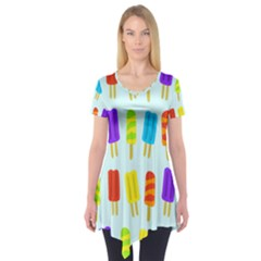 Popsicle Pattern Short Sleeve Tunic