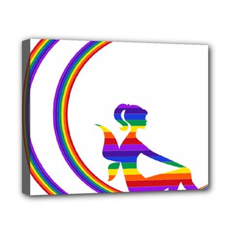 Rainbow Fairy Relaxing On The Rainbow Crescent Moon Canvas 10  x 8