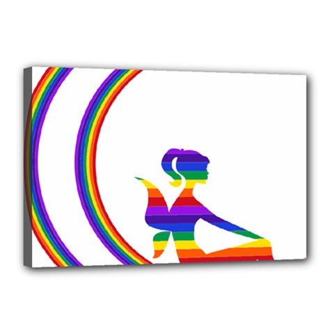 Rainbow Fairy Relaxing On The Rainbow Crescent Moon Canvas 18  X 12