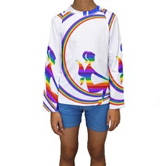 Rainbow Fairy Relaxing On The Rainbow Crescent Moon Kids  Long Sleeve Swimwear
