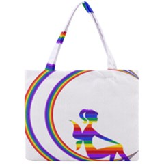 Rainbow Fairy Relaxing On The Rainbow Crescent Moon Mini Tote Bag