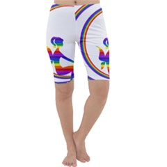 Rainbow Fairy Relaxing On The Rainbow Crescent Moon Cropped Leggings