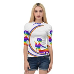Rainbow Fairy Relaxing On The Rainbow Crescent Moon Quarter Sleeve Tee