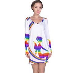Rainbow Fairy Relaxing On The Rainbow Crescent Moon Long Sleeve Nightdress