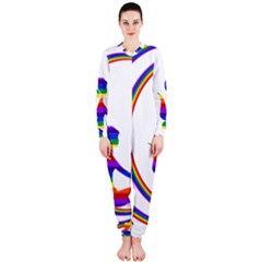 Rainbow Fairy Relaxing On The Rainbow Crescent Moon Onepiece Jumpsuit (ladies)