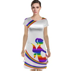 Rainbow Fairy Relaxing On The Rainbow Crescent Moon Cap Sleeve Nightdress