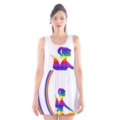 Rainbow Fairy Relaxing On The Rainbow Crescent Moon Scoop Neck Skater Dress