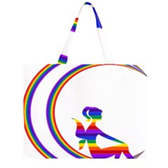 Rainbow Fairy Relaxing On The Rainbow Crescent Moon Large Tote Bag