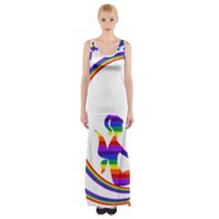 Rainbow Fairy Relaxing On The Rainbow Crescent Moon Maxi Thigh Split Dress