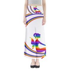 Rainbow Fairy Relaxing On The Rainbow Crescent Moon Maxi Skirts